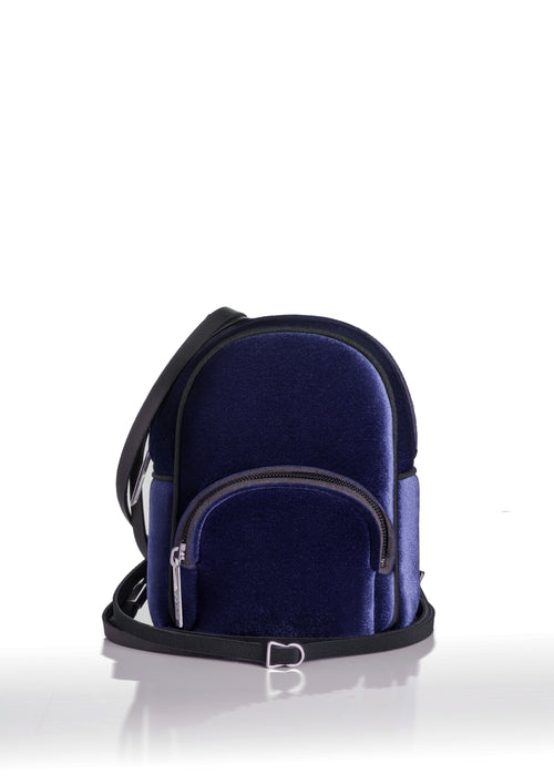 save My Bag Mini Backpack Navy Blue Velvet