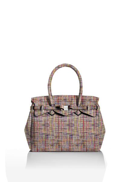 Boucle Beige and Pink Tote Bag