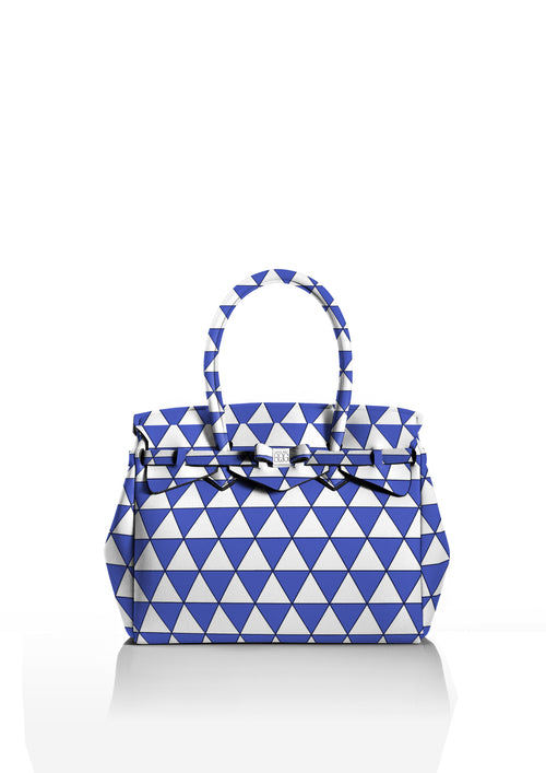 Save My Bag Miss Tote Triangle Blue Print