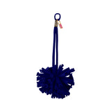 Dark Blue Velvet Pom Pom Bag Charm