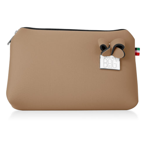 Beige Large Makeup Pouch Clutch