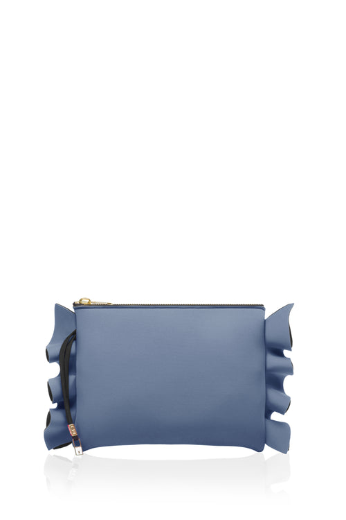 Grey Blue Ruffle Clutch