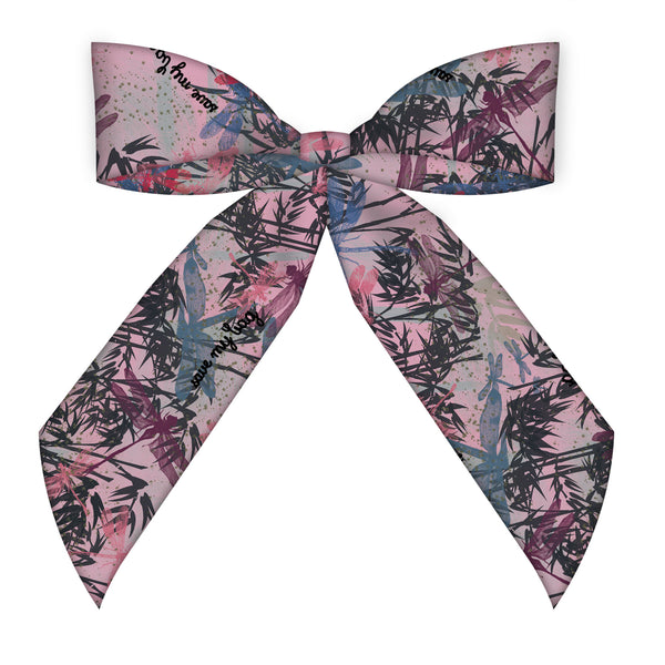Bamboo Pink Silk Scarf Bag Accessory and Headband