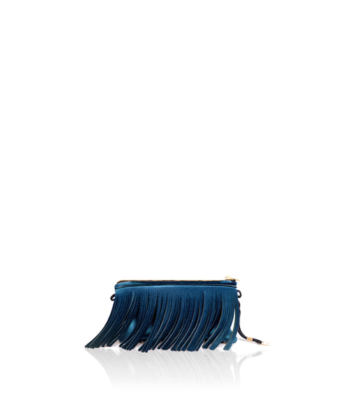 Save My Bag Fringe Clutch Peacock Blue Velvet