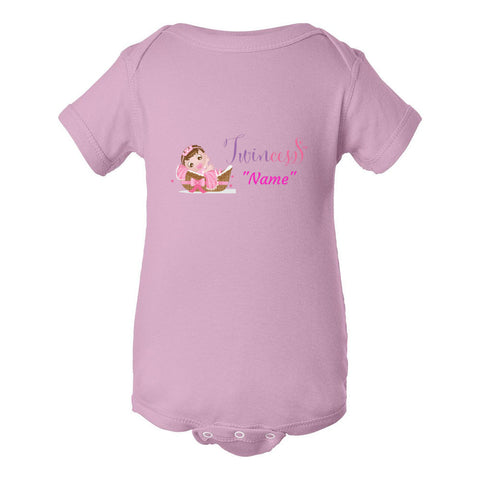 """Twincess"" Pink Baby Personalized Bodysuit (NB-24M) Available in Multiple Colors"