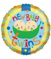 "Two Peas in a Pod - New Baby Twins - 18"" Balloon"