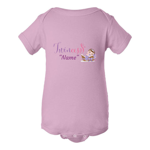 """Twincess"" Purple Baby Personalized Bodysuit (NB-24M) Available in Multiple Colors"