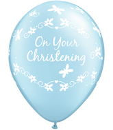 "Pearl Light Blue Christening Butterflies 11"" Balloon (10 Pack)"