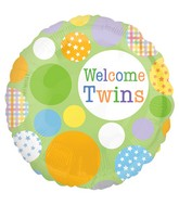 "Welcome Twins Dot Pattern Balloon - 18"" Unisex"