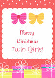 Merry Christmas Twins (Bows) / Personalization Available