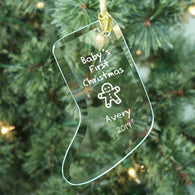 Babys First Christmas Glass Stocking Ornament
