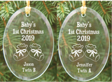 Baby's First Christmas Glass Ornaments (Twin A & Twin B) Personalization Available