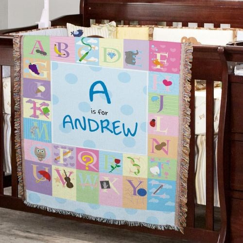 Blue Alphabet Baby Tapestry Throw - Personalized