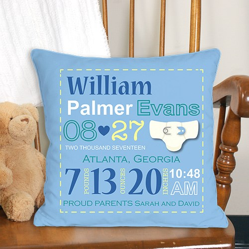 Personalized Boy Birth Announcement Throw Pillow - (Available in Blue) Discount on Two