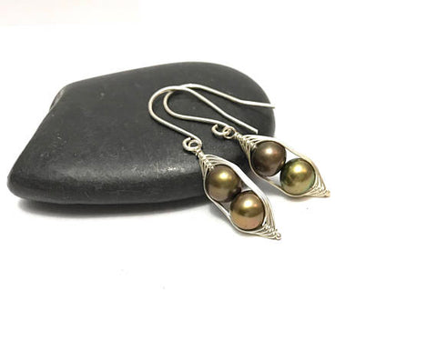 Two Peas in a Pod Bronze Green Pearl Earrings (Additional Pea Count Available)