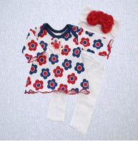 Daisy Set - Top, Lace Legging and Headband (SM Preemie 4-6 lbs, Newborn)