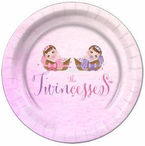 "The Twincesses Baby Shower Dinner Plates 9"" - 8 Count"