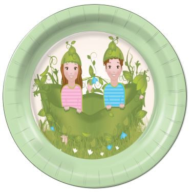 "Two Peas in a Pod Girl Boy 7"" Dessert Plates - 8 Count"