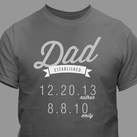 Personalized Established T-Shirt - Dad / Grandpa / Papa T-Shirt (Available in multiple colors)