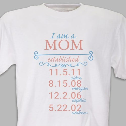 Personalized Established T-Shirt - Mom/ Grandma / Grammy T-Shirt (Available in multiple colors)