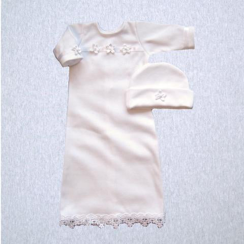 Preemie Girl's Gown and Hat for Special Occasions (XS - up to 3 lbs)