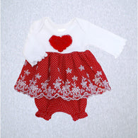 Mini Heart and Red Dot Dress with Bloomer (SM Preemie 4-6 lbs, Newborn)