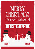 Merry Christmas From US / Snowman Theme / Personalized