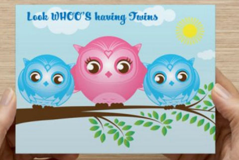Boys - Twin Shower Invitations - 10 Pack (Owls) ICD
