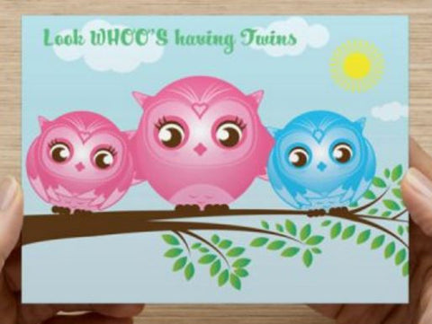 Twins Girl Boy - Baby Shower - 10 Pack (Owls) - ICD