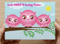 Twin Girls - Baby Shower  - 10 Pack (Owls) ICD