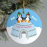Personalized Penguins Twins Christmas Ornament