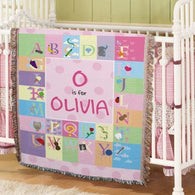 Pink Alphabet Baby Tapestry Throw - Personalized