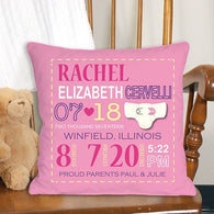 Personalized Girl Birth Announcement Throw Pillow - (Available in Blue) Discount on Two