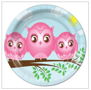 "5 - Twin Girls Little Owls 7"" Dessert Plates - 8 Count"