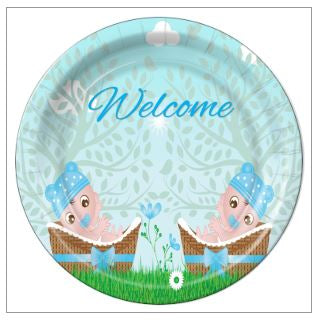 "7 - Twin Boys in Basket Baby Shower 7"" Dessert Plates - 8 Count"