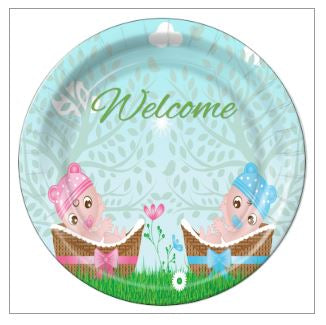 "9 - Twin Girl/Boy in Baskets Baby Shower 7""  Dessert Plates - 8 Count"