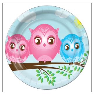 "6 - Twin Girl/Boy Little Owls 7"" Dessert Plates - 8 Count"