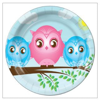 "4- Twin Boys Little Owls 9"" Dinner Plates - 8 Count"