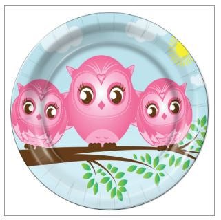 "5 - Twin Girls Little Owls 9"" Dinner Plates - 8 Count"