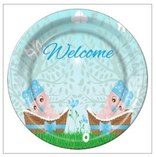 "7 - Twin Boys in Basket Baby Shower 9"" Dinner Plates - 8 Count"