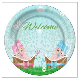 "9 - Twin Girl/Boy in Baskets Baby Shower 9"" Dinner Plates - 8 Count"