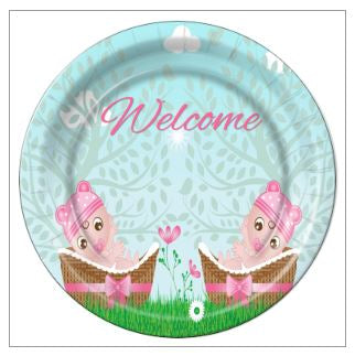 "8 - Twin Girls in Baskets Baby Shower 9"" Dinner Plates - 8 Count"
