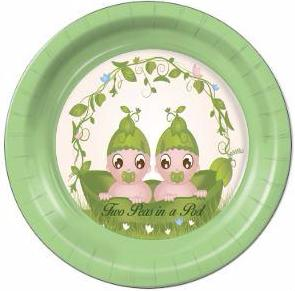 "Two Peas in a Pod Dinner Plates 9"" - 8 Count"