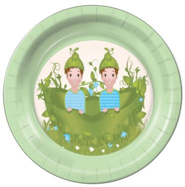 "Two Peas in a Pod Boys 9"" Dinner Plates - 8 Count"