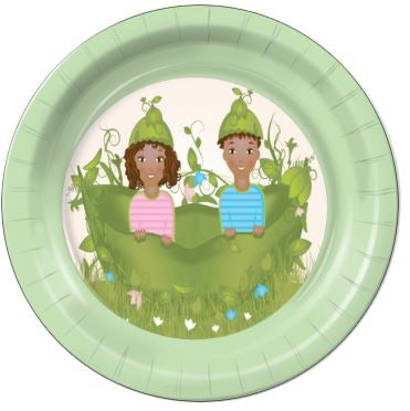 "Two Peas in a Pod Girl / Boy E 7"" Dessert Plates - 8 Count"