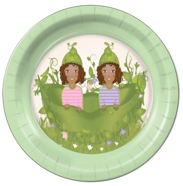 "Two Peas in a Pod Girls E 7"" Dessert Plates - 8 Count"