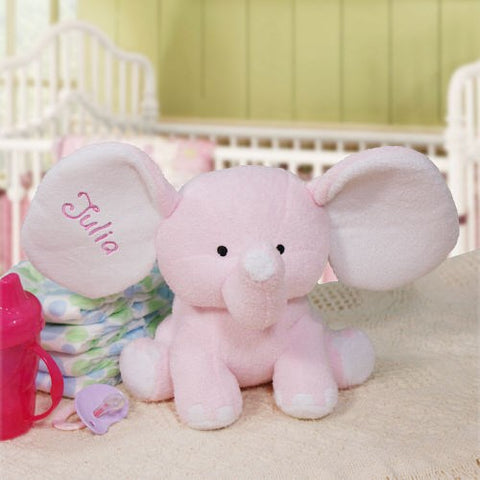 Personalized Embroidered Plush Elephant (Available in Pink and Blue)