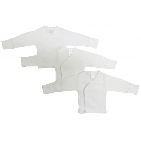 Preemie White Long Sleeve Side Snap Shirt 3 Pack