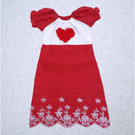 Heart and Red Dot Gown (SM Preemie 4-6 lbs, Newborn)