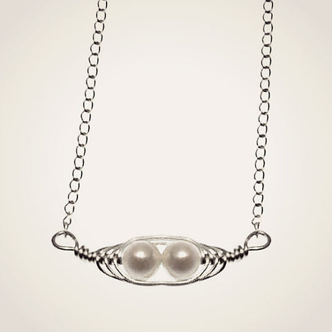 White Pea Pod Necklace